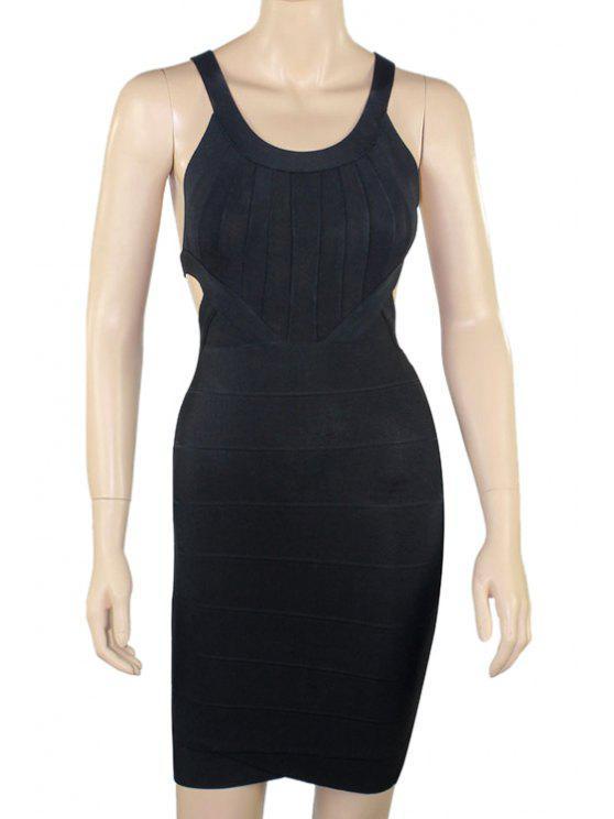 shop Backless Bandage Sleeveless Dress - BLACK XS