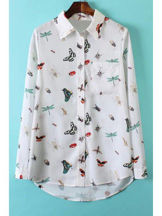 shops Full Insect Print Long Sleeve Shirt - WHITE S