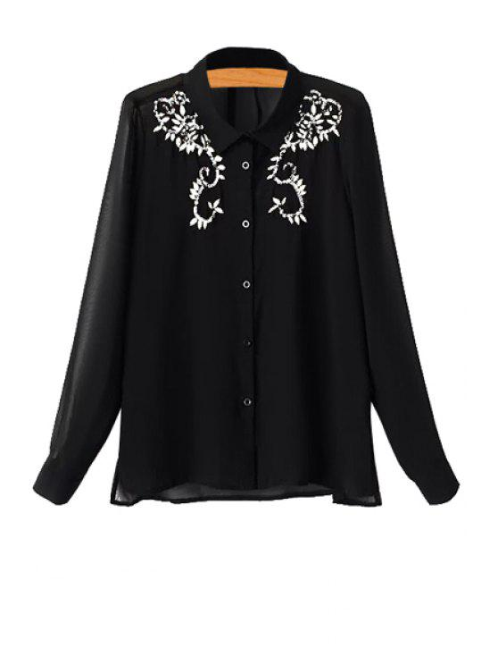 fashion Sequins Embroidery Long Sleeve Shirt - BLACK S