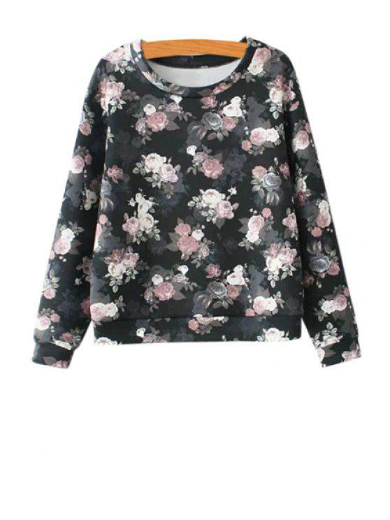 affordable Full Floral Pattern Sweatshirt - BLACK S
