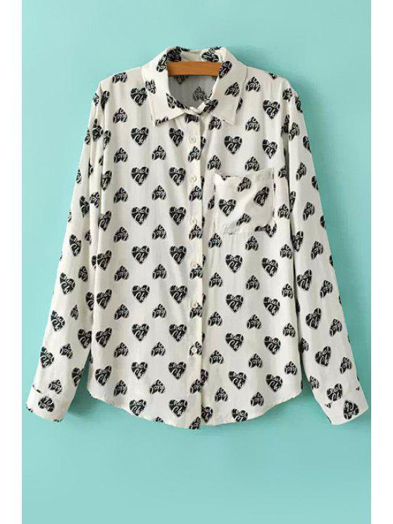 buy Full Heart Print Long Sleeves Shirt - WHITE S