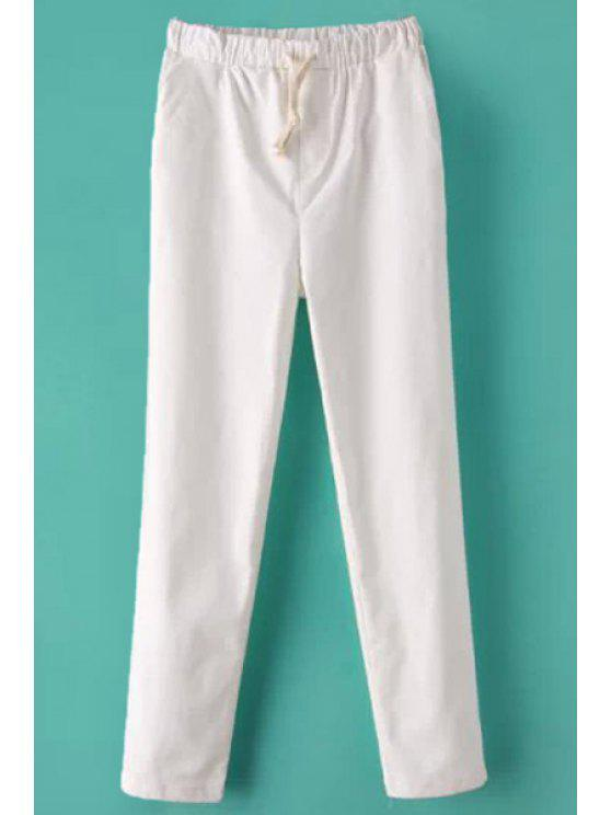 women Solid Color Straight Leg Linen Pants - WHITE M