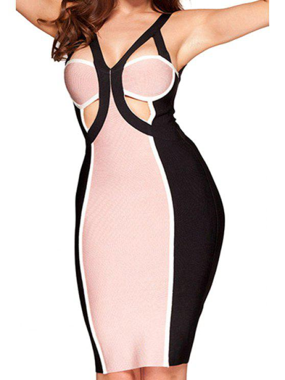 best Backless Color Block Sleeveless Dress - BLACK AND PINK XS