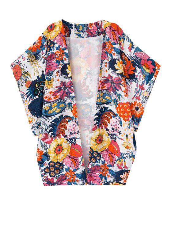 women's Floral Print Bat-Wing Sleeve Blouse - RED S