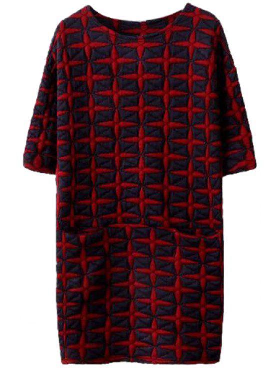 trendy Half Sleeve Star Pattern Dress - RED M