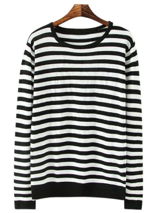 fashion Striped Long Sleeve Knitwear - STRIPE M