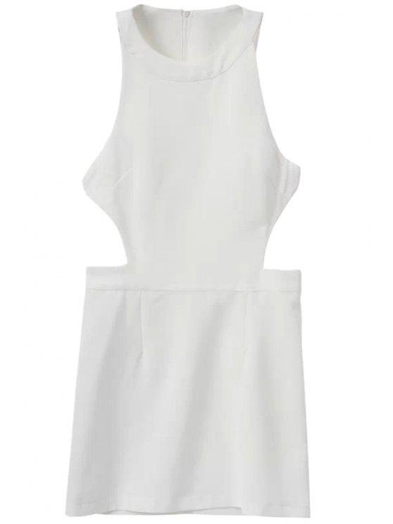 unique Sleeveless Solid Color Dress - WHITE S