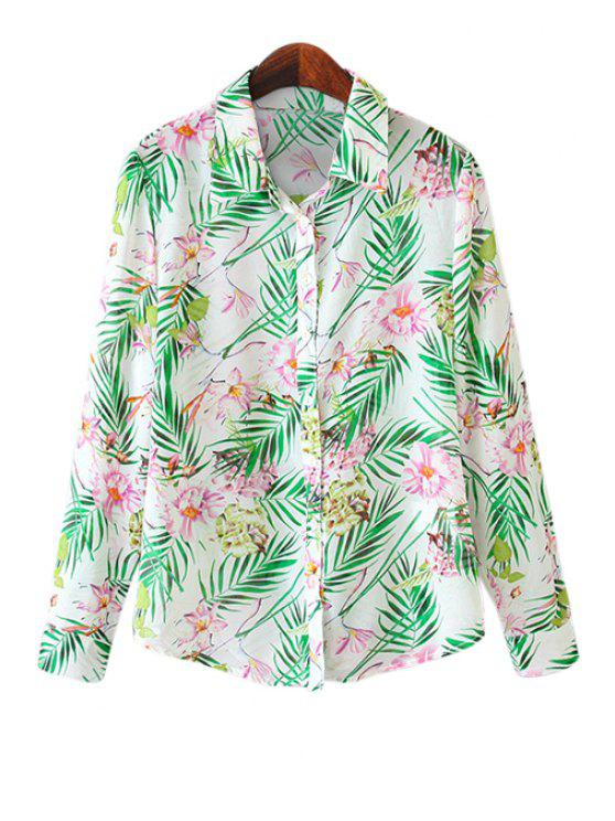 best Floral Print Chiffon Shirt - BRIGHT GREEN S