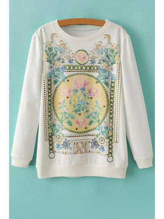 women Retro Floral Long Sleeves Sweatshirt - WHITE S