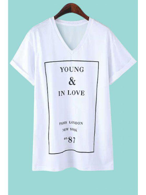 outfits Letter Print Short Sleeve T-Shirt - WHITE L
