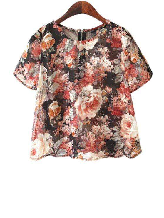 outfit Floral Short Sleeve Chiffon T-Shirt - DEEP RED S