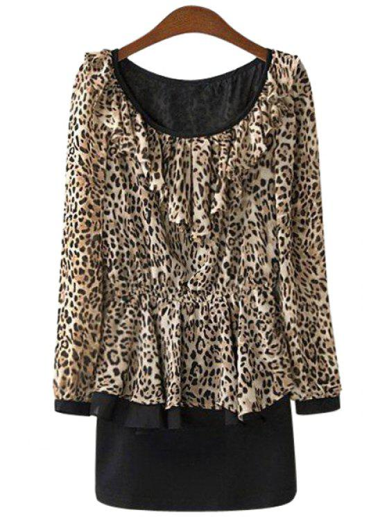 women's Leopard Print Ruffles Dress - LEOPARD S
