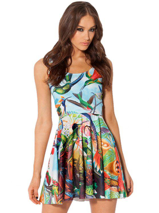 outfits Bird Print A-Line Sundress - LIGHT BLUE ONE SIZE(FIT SIZE XS TO M)
