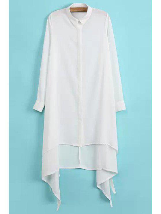 women Asymmetrical Chiffon Long Sleeve Shirt - WHITE S