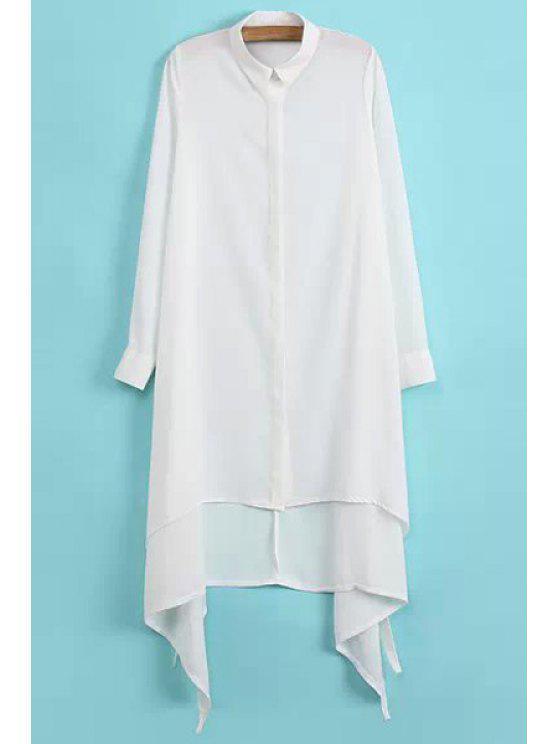 women Asymmetrical Chiffon Long Sleeve Shirt - WHITE S