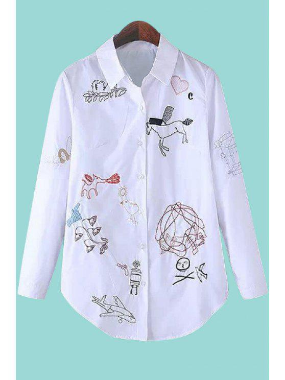 new Polo Collar Embroidery Shirt - WHITE S