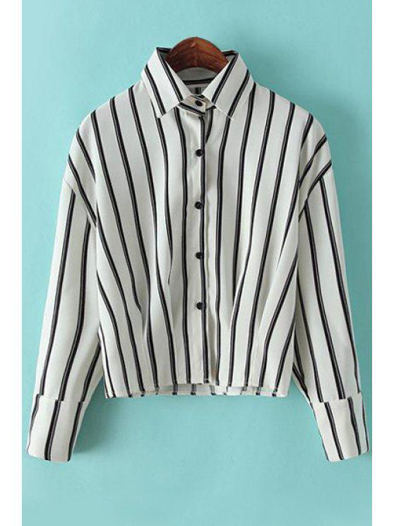 chic Turn-Down Collar Stripe Shirt - WHITE M