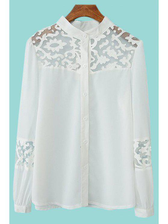 affordable Voile Splicing Openwork Long Sleeve Shirt - WHITE M