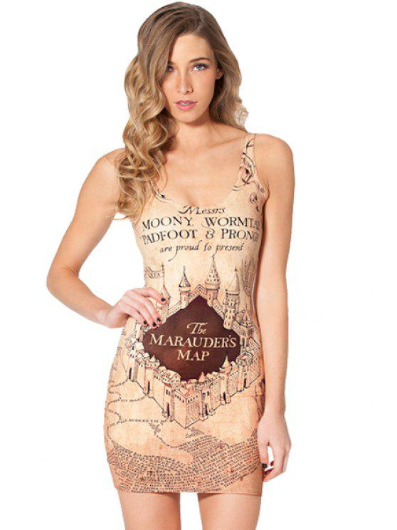 shop Castle Print Bodycon Sundress - LIGHT APRICOT ONE SIZE(FIT SIZE XS TO M)