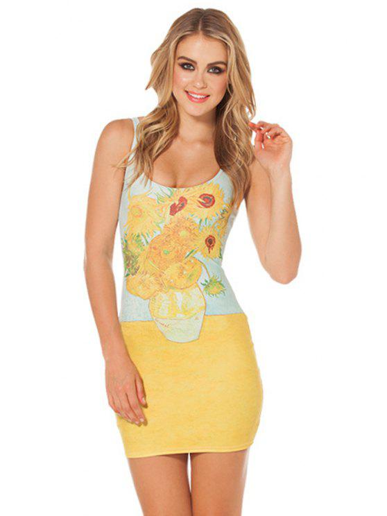 shops Sunflower Print Bodycon Sundress - YELLOW ONE SIZE(FIT SIZE XS TO M)