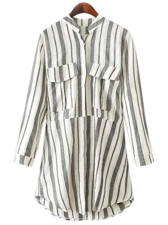unique Stand-Up Collar Stripe Pockets Shirt - GRAY M