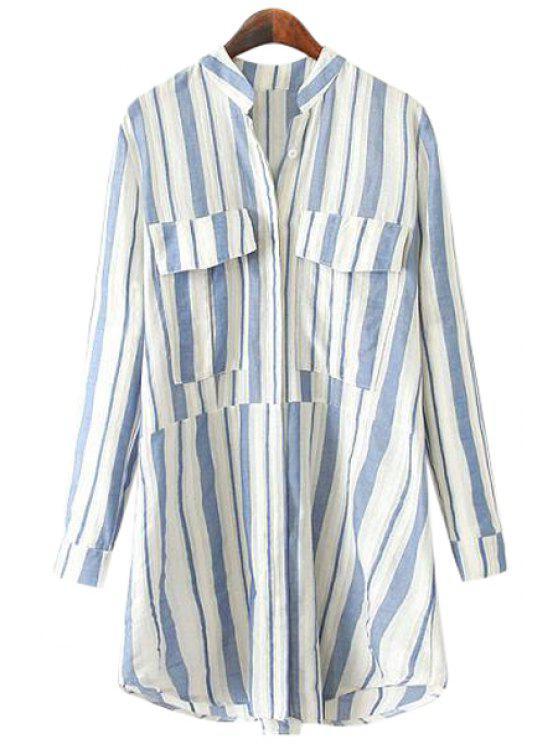 women Stand-Up Collar Stripe Pockets Shirt - BLUE L