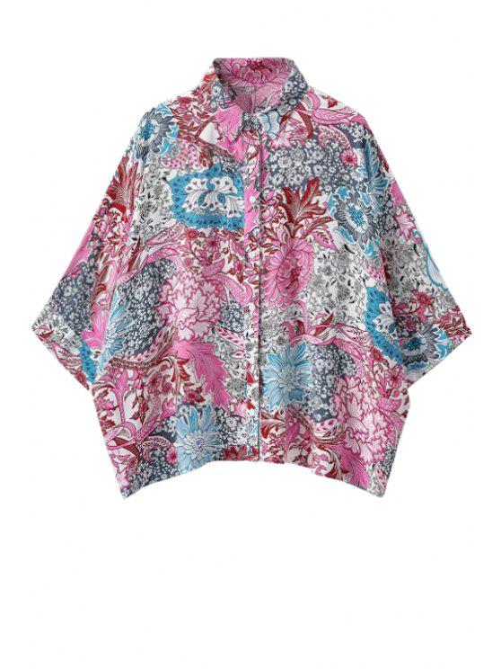 lady Floral Print Half Sleeve Shirt - COLORMIX S