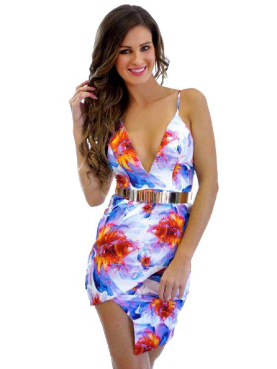 unique Print Spaghetti Straps Bodycon Dress - JACINTH L