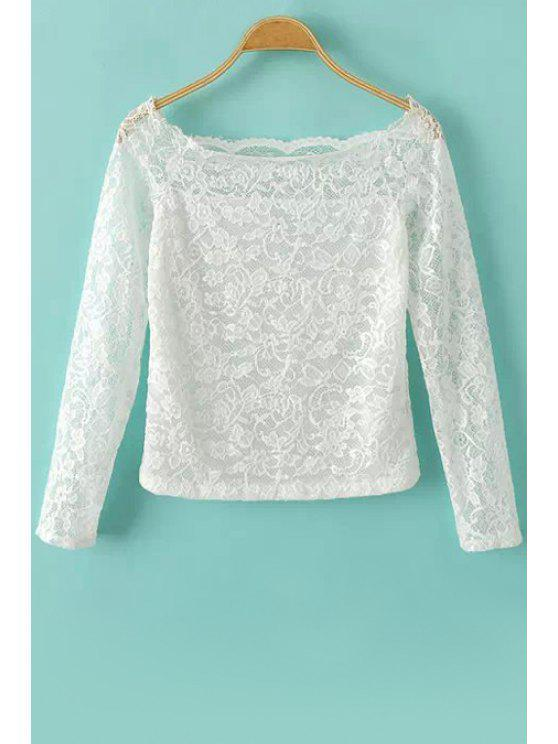shop Slash Neck Lace Long Sleeve T-Shirt - WHITE S