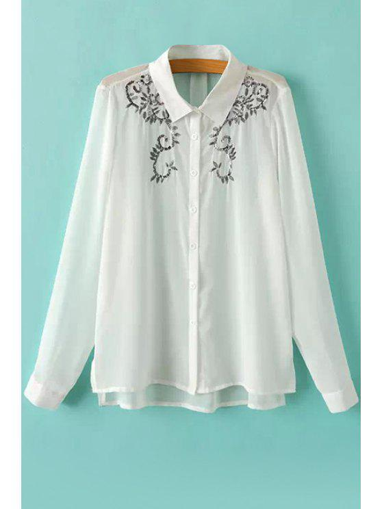 outfits Sequins See-Through Long Sleeve Shirt - WHITE S