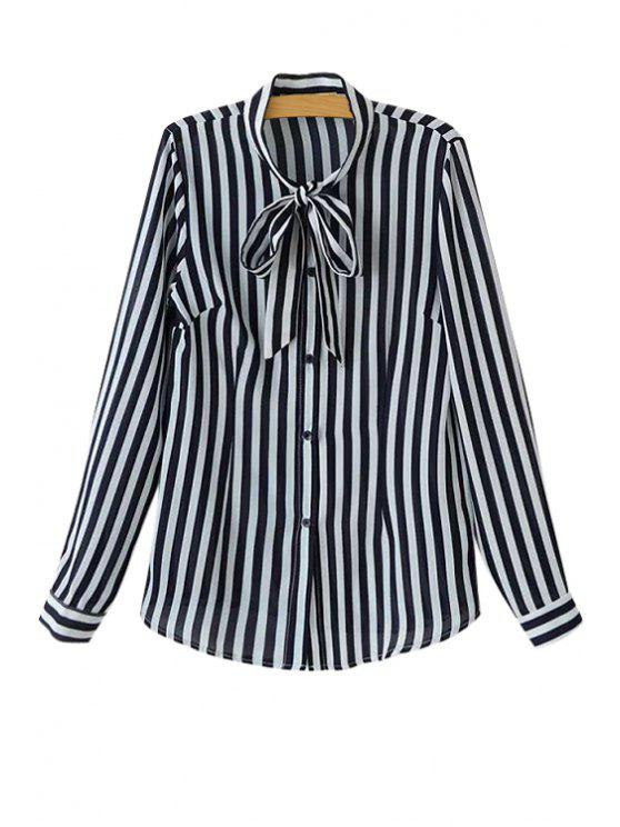 shops Stripe Tie-Up Long Sleeve Shirt - BLACK S