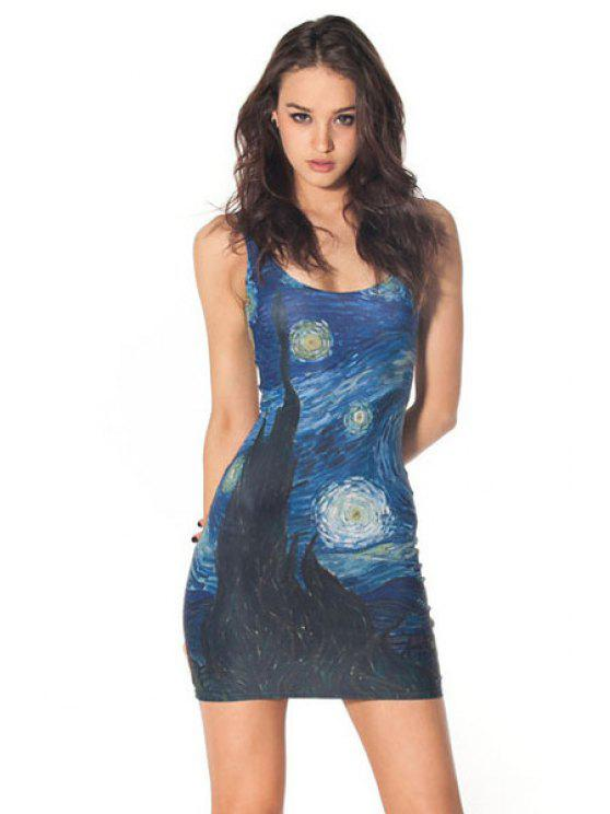 buy Abstract Print Bodycon Sundress - DEEP BLUE ONE SIZE(FIT SIZE XS TO M)