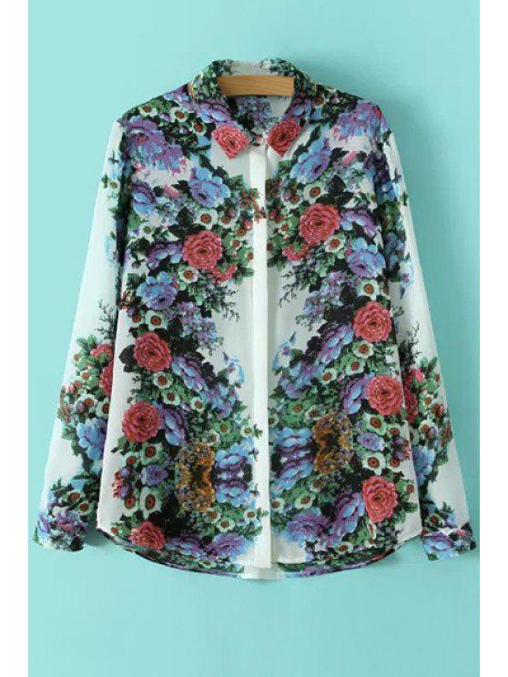 sale Floral Print Color Block Long Sleeve Shirt - COLORMIX S