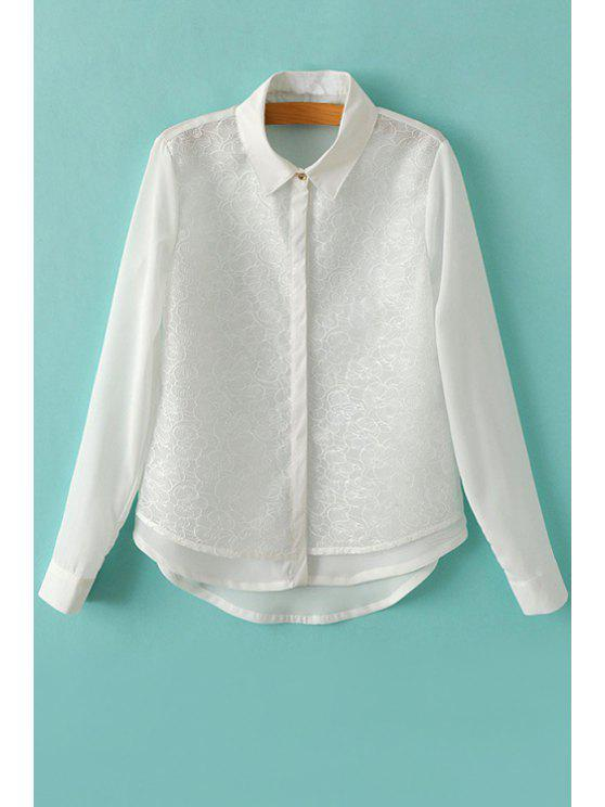 women's Floral Embroidery Long Sleeve Shirt - WHITE S