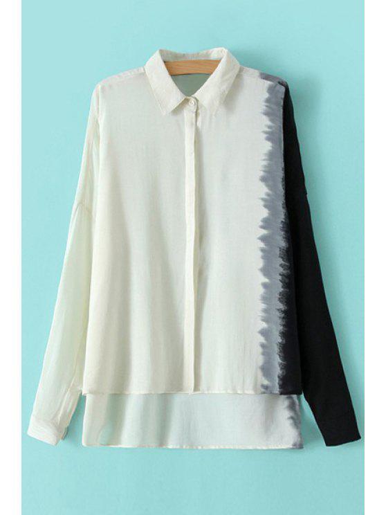 hot Asymmetrical Color Block Long Sleeve Shirt - WHITE S