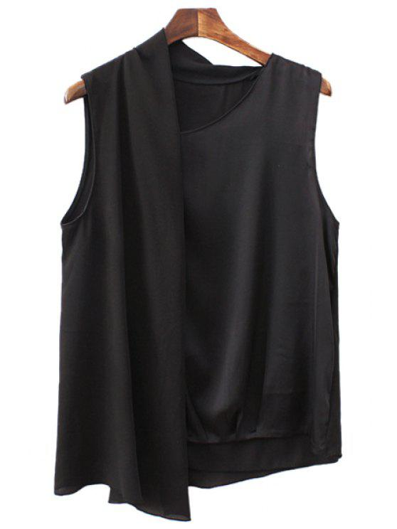 latest Solid Color Asymmetrical Sleeveless Blouse - BLACK S