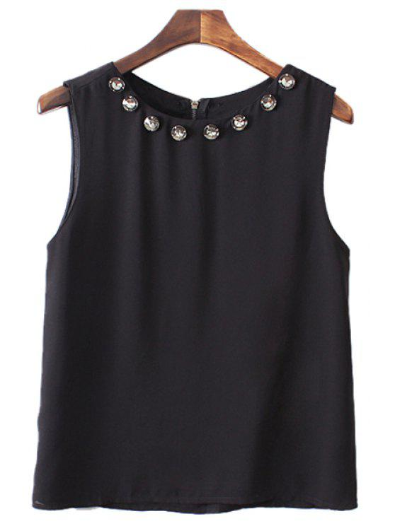 unique Rhinestone Embellished Sleeveless Blouse - BLACK S