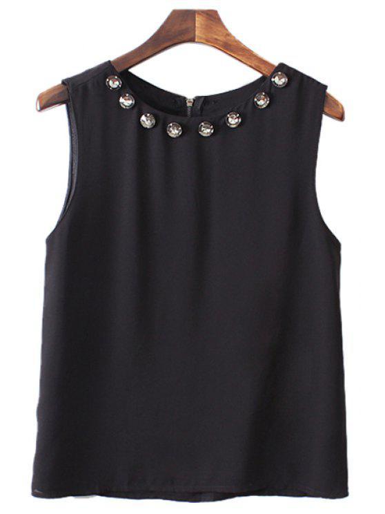 unique Rhinestone Embellished Sleeveless Blouse - BLACK S