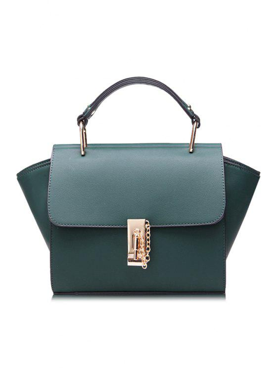 womens Chain Metallic PU Leather Tote Bag - GREEN