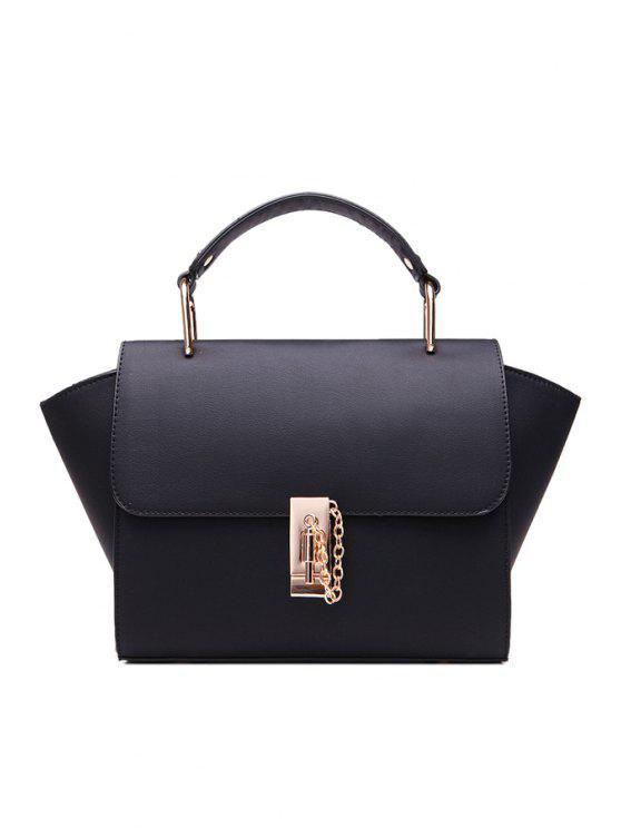 women's Chain Metallic PU Leather Tote Bag - BLACK