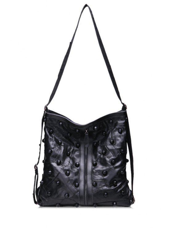 new Black PU Leather Rivets Crossbody Bag - BLACK