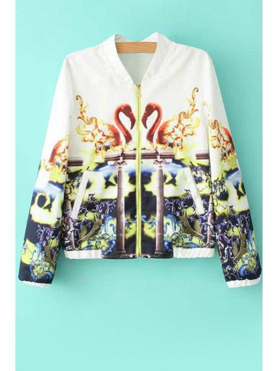 lady Swan Print Long Sleeve Coat - WHITE S