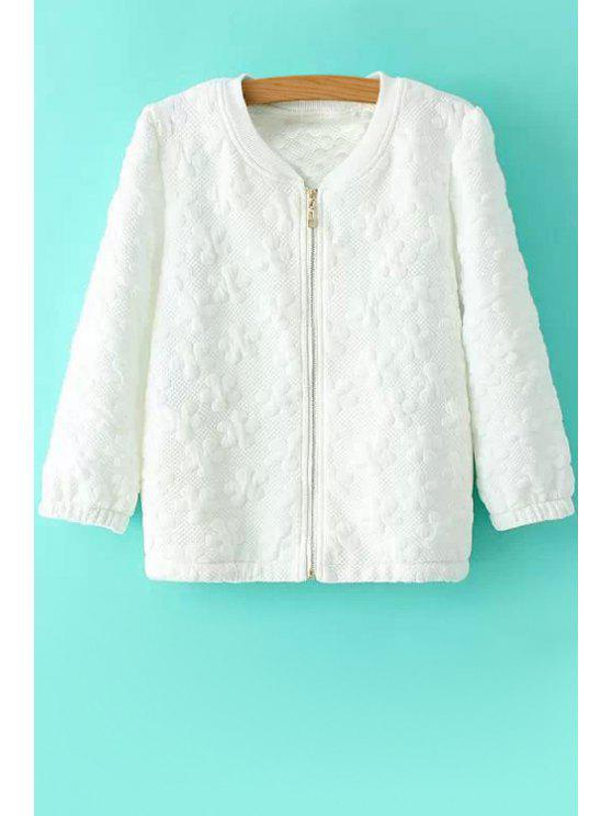new Floral Pattern Jacquard  Coat - WHITE S