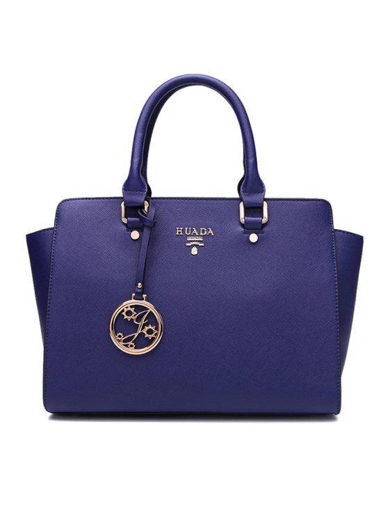 best PU Leather Metallic Pendant Tote Bag - BLUE