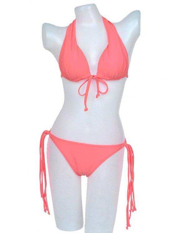 best Black Lace-Up Bikini Set - PINK M