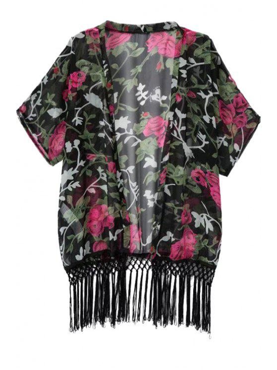 womens Floral Print Fringe Half Sleeve Coat - BLACK S
