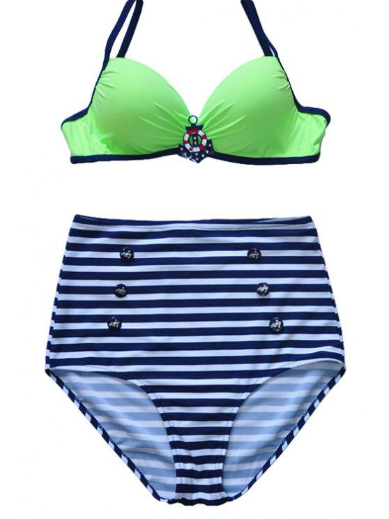 fashion Spaghetti Straps Striped Bikini Set - GREEN L