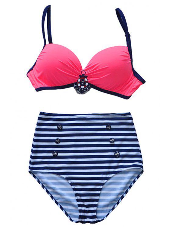 ladies Spaghetti Straps Striped Bikini Set - RED L