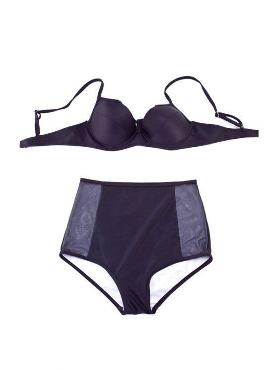 sale Black High Waisted Bikini Set - BLACK M