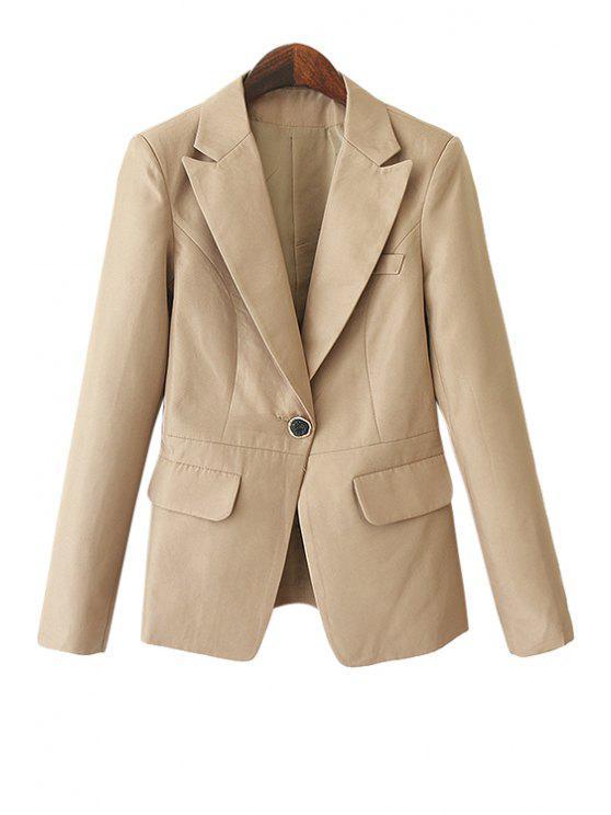 online Solid Color Pockets Blazer - KHAKI S